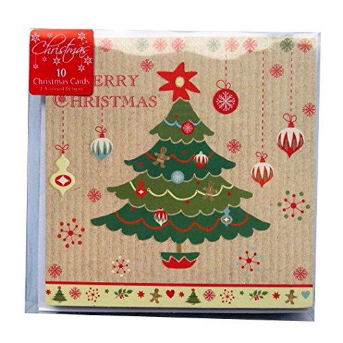 Cartoline di Natale con buste–Tree & Gingerbread–Confezione di 10–125mm x 125mm