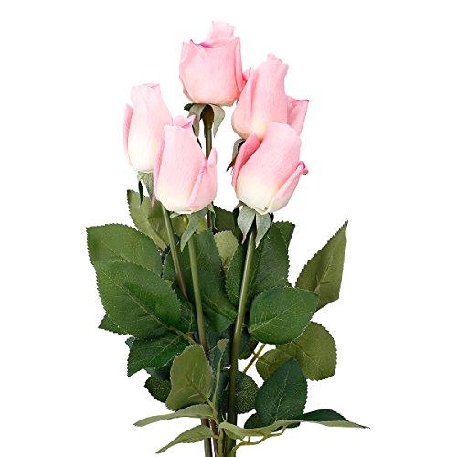 TININNA 5 Bouquets Rose Artificielle Fleur Réel Touch Hydratant Décoration Fleurs pour Fête Noce Décoration Rose Foncé