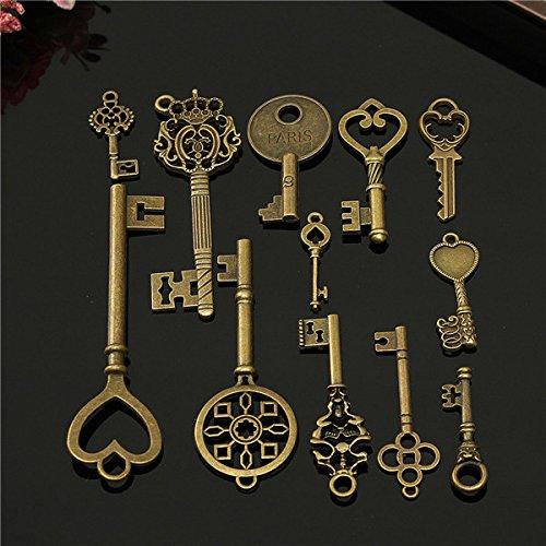RanDal 12Pcs Vintage Key Charms Accessoires Schmuck Antique Charms/Pendants