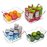 Vtopmart Refrigerator Organizer Bins 4 Pack - Clear Small Plastic Food Organizer with Handle for Fridge, Freezer, Cabinet, Kitchen Pantry Organization and Storage, BPA Free, 9.5' Long