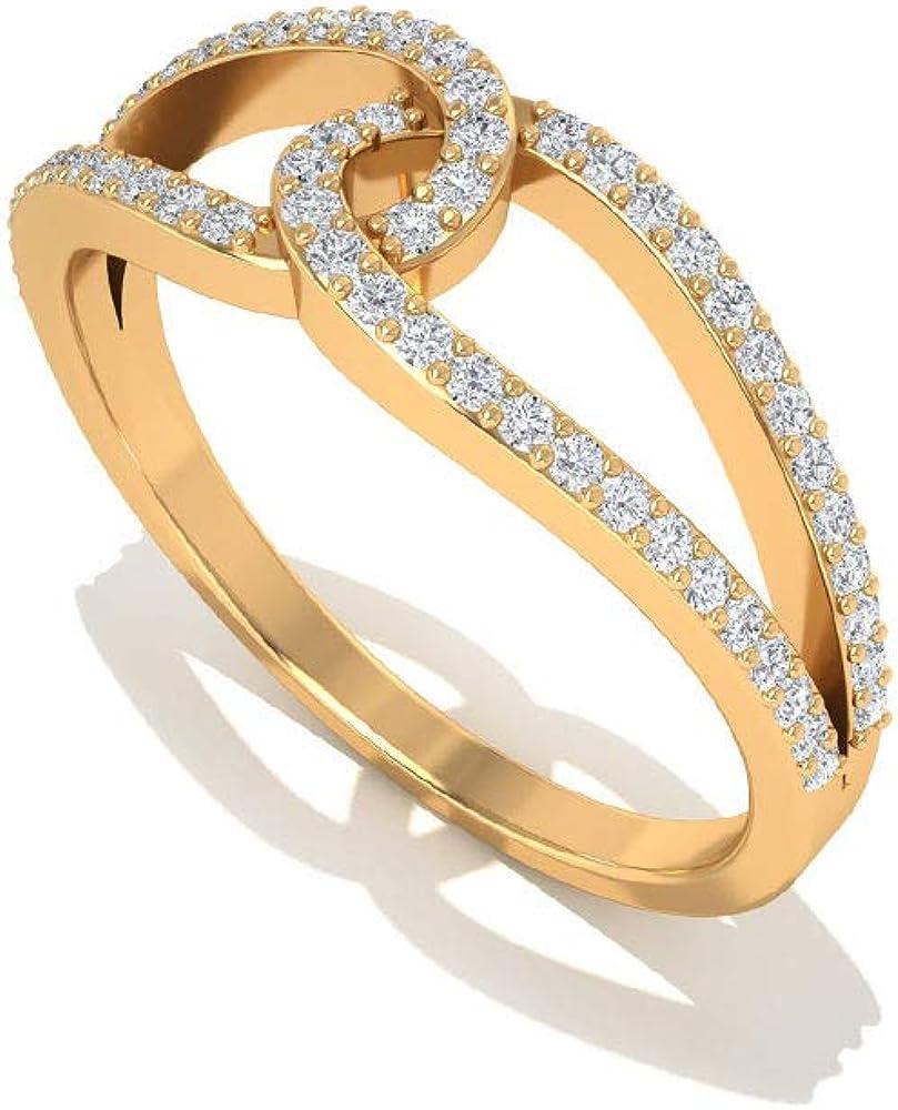 April Birthstone - Round Shaped 0.90 MM D-VSSI Moissanite Ring, Split Shank Engagement Ring, Interlocking Gold Ring, 14K Gold