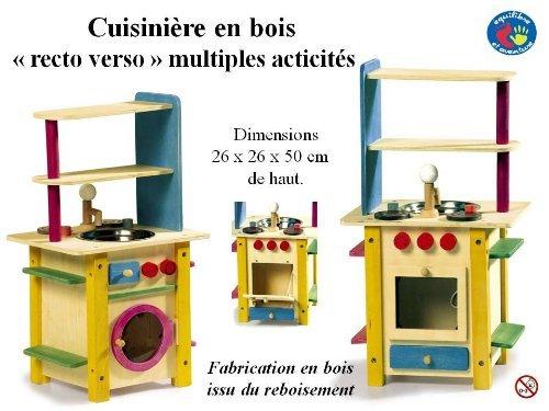 Cuisinière compacte complète recto verso - dinette en bois pour petite fille