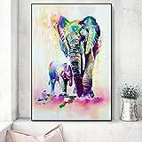 ZWBBO Elefantes de Acuarela Arte de la Pared Impresiones en Lienzo Pared Graffiti Animales lienzos Pinturas Pop Art Lienzo para habitación de niños