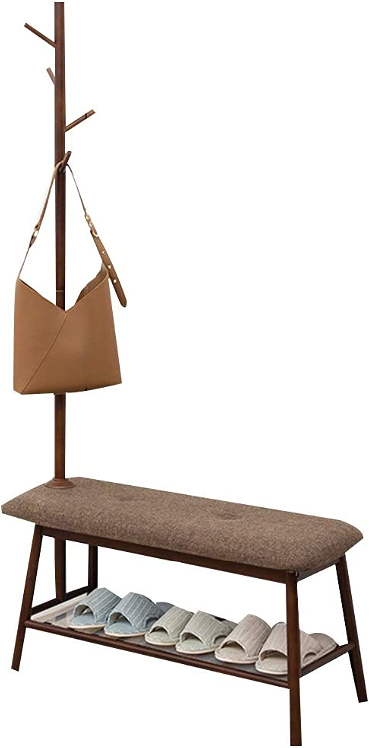 JIAYING Bamboo Coat Rack with Bench House Shape Entryway Hat Rack Home Decor Furniture for Entryway, Bedroom, Office, Kitchen and Living Room (color   Brown)