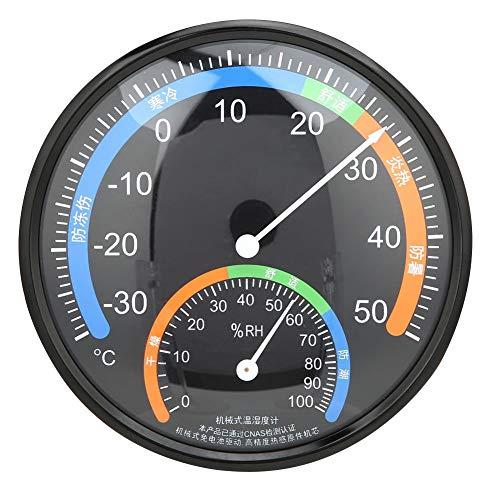 Termómetro para interiores y exteriores, termómetro de tipo puntero redondo, medidor de humedad de temperatura, para habitaciones, oficinas, grandes centros comerciales, hoteles, -30 ~ 50 ° C (TH101 negro)