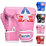 Xnature 4oz 6oz 8oz PU Kids Boxing Gloves w/Gift Box Children Cartoon MMA Kickboxing Sparring Youth Boxing Gloves Training Gloves Age 5-12 Years Pink