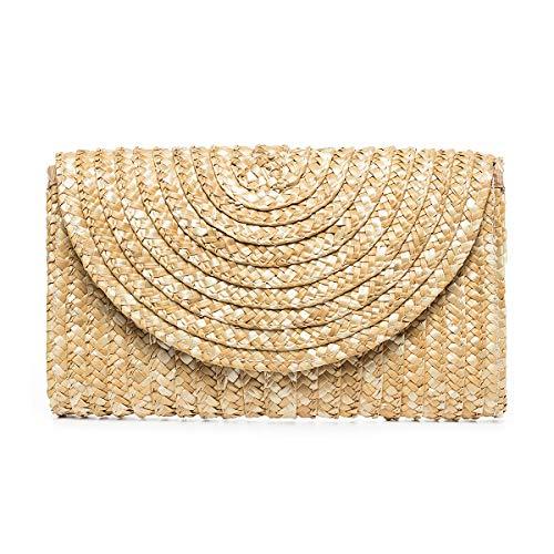 JOSEKO Bolso de mano de paja, bolso sobre tejido de paja para mujer, bolso de playa de verano, imprescindible para viajar(Bolso de mano-Caqui # 03)