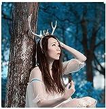 Christmas Decor Festival Celebration Accessory Props Cos Cute White Snow Deer Reindeer Antlers Head Hair Band Photo Shoot Forest Goddess Headdress Headwear (b)