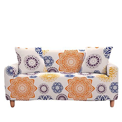 Meiju Fundas de Sofá Elasticas de 1 2 3 4 Plazas 3D Bohémien Ajustables Antideslizante Cubierta de Sofá Extensible Funda Cubre Sofas Furniture Protector (Mandala Arancione,3 plazas - 190-230cm)