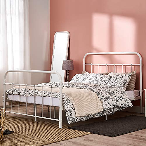 Panana Double Metal Bed Frame Hospital Style Small Double King Size Beds Base with Strong Metal Slats bedroom furniture (4FT6, White)