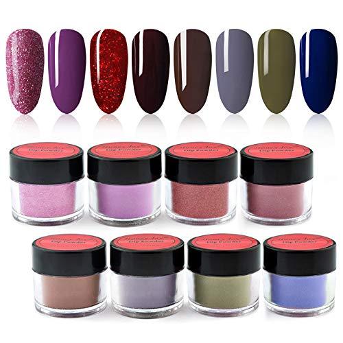 8 box/set Honey Joy Fine Dipping Powder Dip Kit Powder Nail Color System, Dark Red Purple Grey, Like Gel Polish Effect,Even & Smooth Finishing (29-55-18-117-68-84-45-67-10g/box)