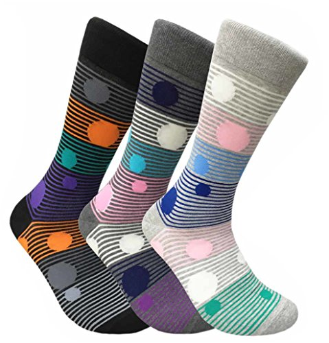 Men's 3 Pk Hipster Multi Colorful Designer Contemporary Crew Dress Socks (Polka Dots)