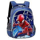 LQ-ZHUOJIAO Mochila De Spiderman para Niñas Mochila Escolar para Niños Mochila De Superhéroe para Niños Mochila De Impresión En 3D Bolsos Ligeros Multicapa,Blue-M 29.5 * 17.5 * 39cm