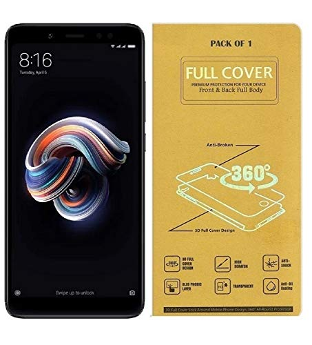 Blue Blood® 360° Buff Guard [Front + Back + Camera Lens] [Not Tempered Glass] Full Body Coverege Screen Protector for Xiaomi Redmi Note 5 Pro − List 1076