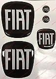 Logo anteriore, posteriore + volante + 2 stemmi per portachiavi. Per cofano e baule. Adesivi resinati, effetto 3D. Fregi colore Nero-Bianco