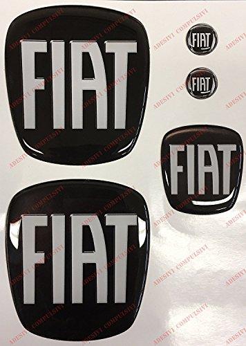 Emblem für vorne + hinten + Lenkrad + 2 Schlüsselanhänger, für Motorhaube, Kofferraum, 3D-Effekt, geharzt, Schwarz-Weiß