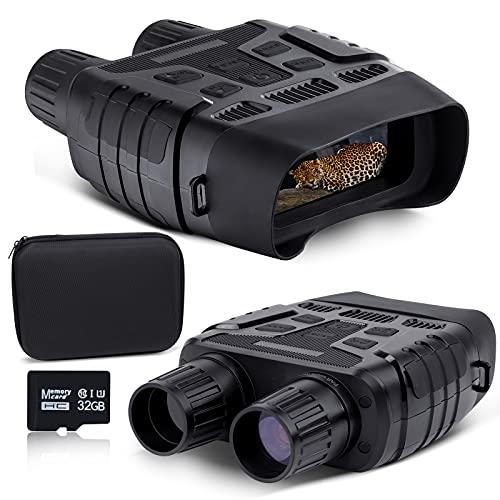 NOCOEX Prismáticos de visión nocturna con 100% infrarrojo oscuro, gafas de visión nocturna digitales, toma de vídeo HD y fotos con pantalla de 2.31 pulgadas y tarjeta de memoria de 32 GB