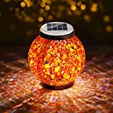Pandawill Mosaic Solar Garden Light, Rechargeable Outdoor Hanging Light Metal Decorative Ball Light, Waterproof LED Table Lamp Waterproof Night Light for Patio, Countryyard, Bedroom, Party