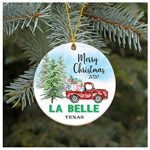 Christmas Ornament 2020 La Belle Texas TX Christmas Decoration Funny Gift Christmas Together First Christmas as a Family Couples Gifts Boyfriend Girlfriend 3' Flat Circle
