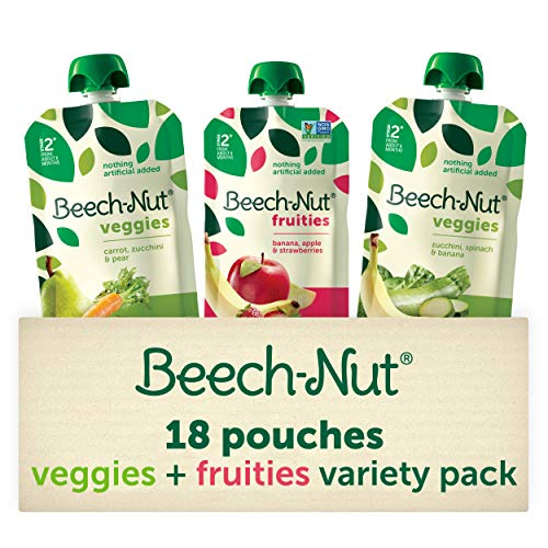 Beech-Nut Stage 2 Fruities & Veggies Baby Food Pouches Variety Pack (18 count, 3.5 oz pouches)
