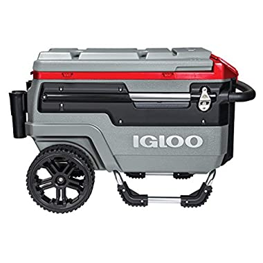 Igloo Trailmate Liddup Wheeled Lighted Cooler, Silver/Red Heat/Silver/Black, 70 quart