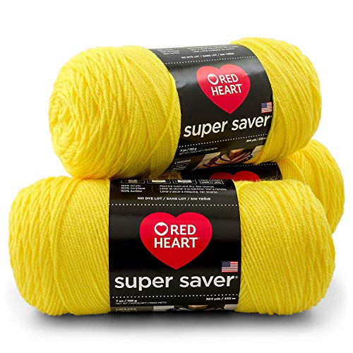 Red Heart Super Saver Yarn (3-Pack) Bright Yellow E300-324