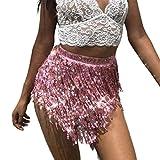 Ruiuzioong Falda de Danza del Vientre Falda de Cadera Borla Chal Lentejuelas Abrigo Rave Disfraz para Mujer (Pink)