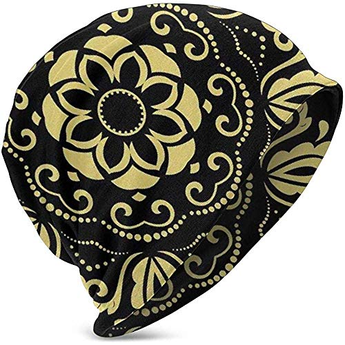 Kinderzachte Slouchy Beanie Baggy Skull Hat, grafische abstracte bloemen gestileerde cirkelvormige lijst laat beeld, teengebreide muts stijlen