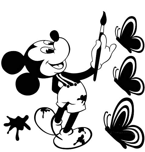 Mickey Minnie Mouse Wall Art Decal Sticker Mickey Mouse toma un pincel para dibujar tres mariposas etiqueta de la pared de Mickey Mouse dibujo creativo