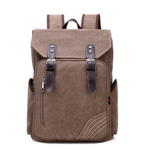 BYD - Uomo Unisex Large School Bag zainetto backpack Travel Bag Canvas Bag Borse a mano Borse a spalla with Mutil Function Pocket and Double PU Leather Strap