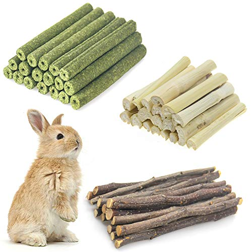 Changeary Small Animals Chew Toys Molar Sticks, Apple Sticks Timothy Hay Sticks Sweet Bamboo 3Types Combined for Rabbit Chinchilla Guinea Pigs Squirrel Hamster (300g)