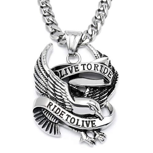 Schmuck-Checker Bikerschmuck Halskette mit Adler Anhänger Live to Ride - Ride to Live aus massivem Edelstahl Rockerschmuck Motorrad Freiheit Männerschmuck Bikergeschenk Rockerschmuck Geschenk