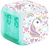 Samvardhan Unicorn Kids Alarm Clocks, Digital Wake Up Clock with 7 Colors Changing Light Bedside Clock with 8 Alarm Sounds, with Date Calendar Temperature for Students/Boys/Girls