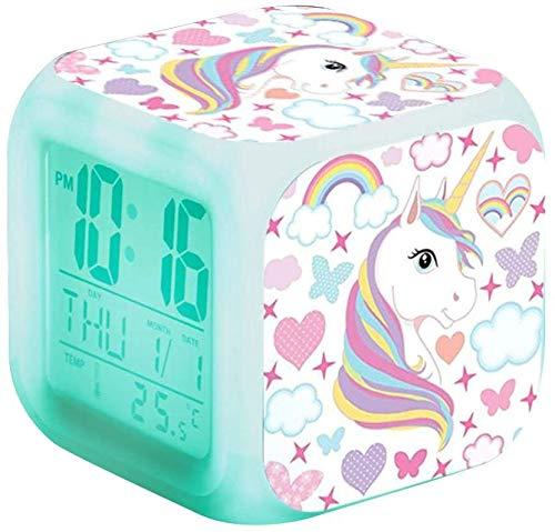 Samvardhan Unicorn Kids Plastic Digital Alarm Clock with 7 Colour Changing Light, 8 Alarm Sounds, Date Calendar Temperature for Students