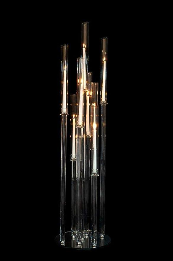 Amazon Com Event Decor Direct Crystal Cluster Round Glass Candelabra Decorative Pillar Candle Holder Wedding Décor 12 X 52 5 Pillar Home Kitchen