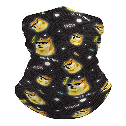 SOLVE GROCERY Doge WOW Such Thug Pattern Kekistani Doggo Meme Rave Face Mask Headband Bandana Mouth Cover Hair Ties Neck Scarf for Men and Women