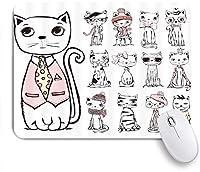NIESIKKLAマウスパッド ファッション猫と異なる髪帽子メガネ様々なイメージコミックスケッチアートピンク ゲーミング オフィス最適 高級感 おしゃれ 防水 耐久性が良い 滑り止めゴム底 ゲーミングなど適用 用ノートブックコンピュータマウスマット