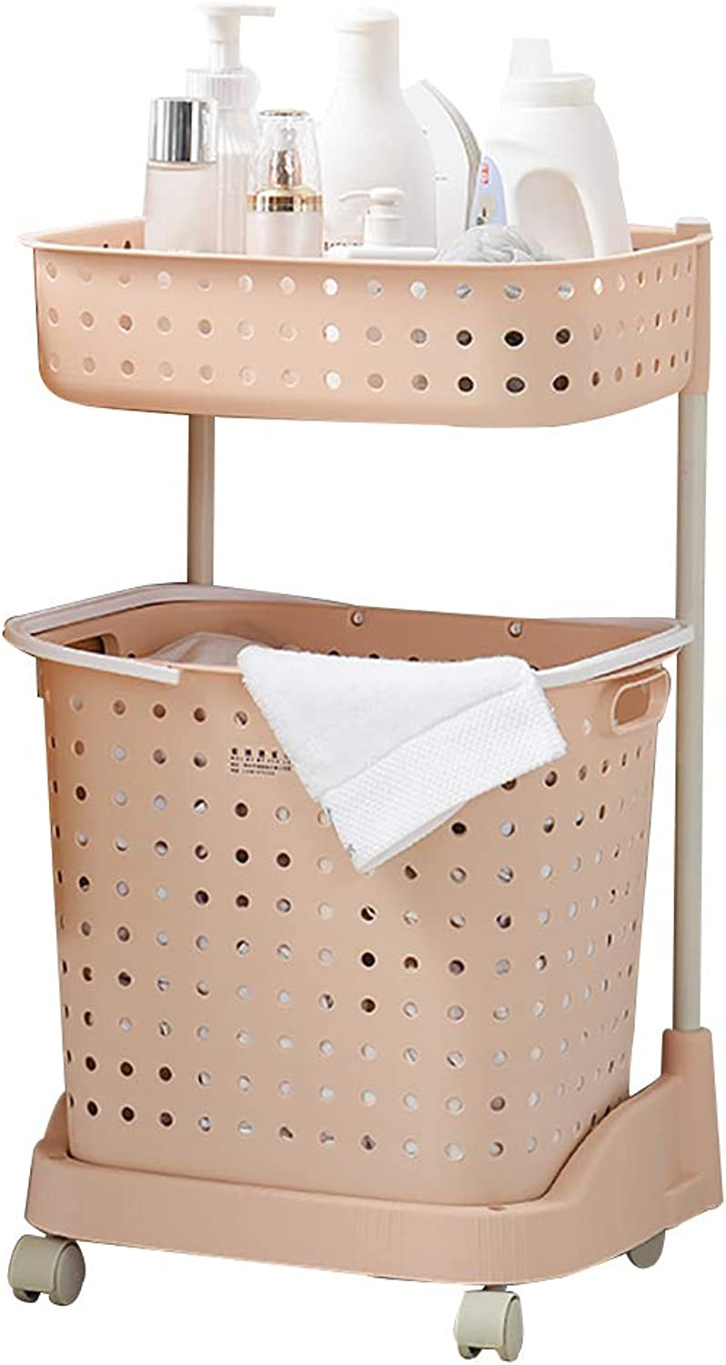 FANGFA Storage Baskets Plastic 2 Layer 3 Layers Bathroom Bedroom Clothes Laundry Basket with Wheels (4 colors, 2 (color   Pink, Size   43.5  32  71cm)