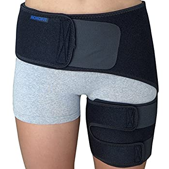 Hip Brace - Sciatica Pain Relief Brace - Thigh Hamstring Compression Support Wrap - Stabilizer for Groin Hip Flexor SI Joint for Labral Tear Arthritis Bursitis Sciatic Nerve pain for Men Women