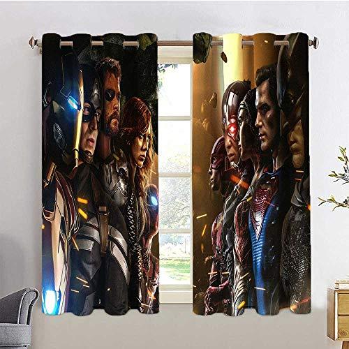 HoMdEfW Blackout Drapes Marvel vs dc 1u Curtain for Bedroom