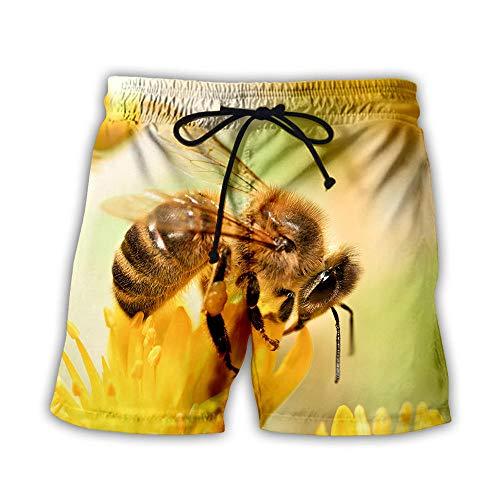 yyqx closed truck Badehose Kurz Bienen auf gelbem Nektar 3D gedruckt Männer digital gedruckt Shorts-Color_3XL