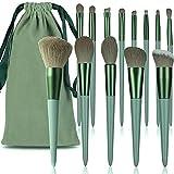 Eenten Juego de 14 brochas de maquillaje verdes, de fibra suave y no se desprende, juego de pinceles de maquillaje profesional, incluye base, polvos sueltos y correctores (con bolsa de almacenamiento)