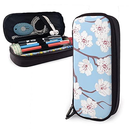 estuche White Cherry Blossom Flowers Petals Leather Pencil Case Bag,Big Capacity Durable Zipper Pen Bag Box For Boys Girls Kids,Pencil Pouch Storage Makeup Cosmetic Bag School Supplie