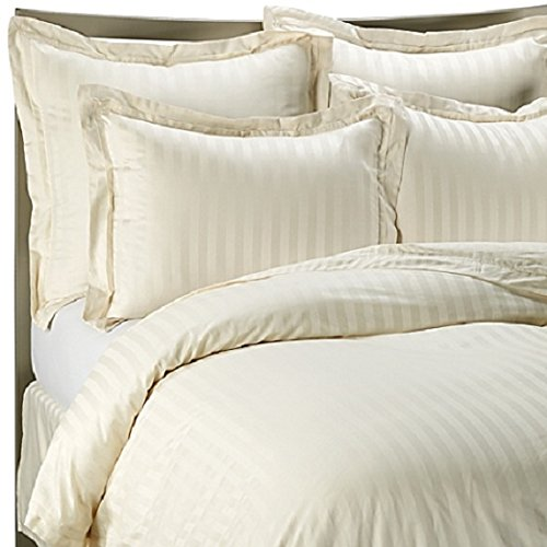 viceroy bedding 100% Egyptian Cotton, CLASSIC STRIPE Duvet Cover, Cream, King Bed Size, 500 Thread Count