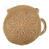 Zisla Bolso bandolera casual de mujer pequeño, circular de ganchillo, croche o tejido gancho, estilo bohemio hippie. (Marrón)