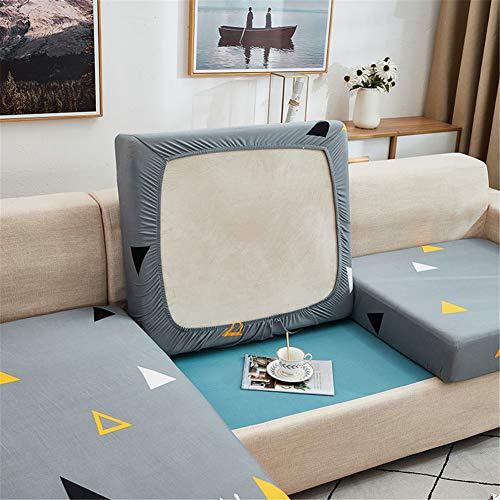 Fundas de cojín para sofá y sofá, elásticas, de repuesto para cojines individuales (gris, azul, grande, 1 plaza)