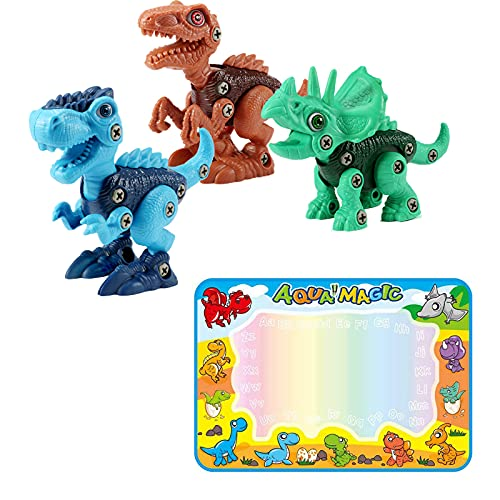 FREE TO FLY Large Aqua Drawing Mat for Kids Water Painting Writing Doodle Board Toy -Kids Toys Stem Dinosaur Toy: Take Apart Dinosaur Toys for Kids 3-5