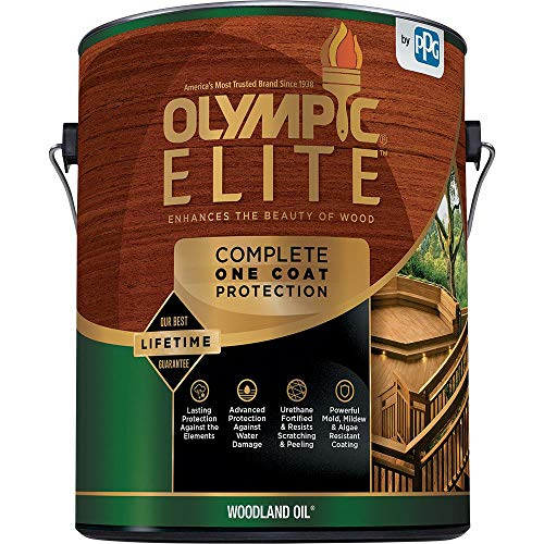 Olympic Stain 80115 Elite Woodland Oil Stain, 1 Gallon, Red Cedar