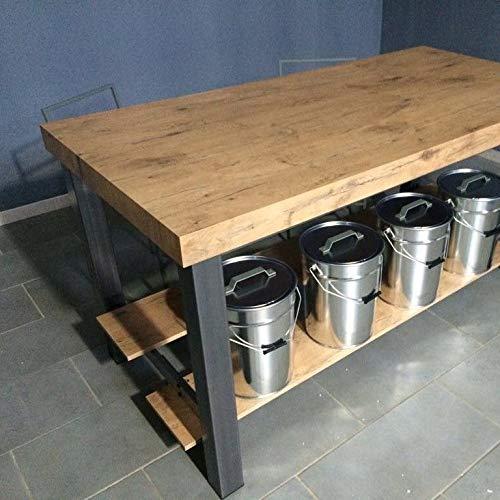Itamoby, Table Vulcano 130, panneaux de bois mélaminé & acier, chêne naturel/anthracite, L 130 x H 90 x P 90 cm