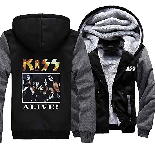NFLSWER Men's Sweater Jacket - Tide ALIVE KISS Band Print Baseball Jersey T-shirt Warm Casual Zip met lange mouwen Fall Winter Coat